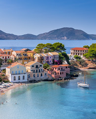 Assos (ACE) Kefalonia (IanEdwards_uk) Tags: assos greece kefalonia greek village sea boats swimming sky blue houses picturesque beautiful traditional ionian architecture coloured pebbly beach clear waters