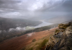 Bamford Edge & some water (Nicks-2017) Tags: hills moors gritstone rocks stone nature lanscape outdoors scenic fog mist tranquil peakdistrict nationalpark canon eos 6dmkii bamfordedge ladybower reservior lake water reflections bridge sky clouds moody