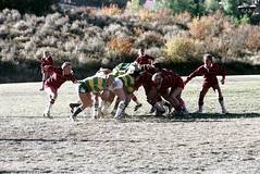 71-893 (ndpa / s. lundeen, archivist) Tags: nick dewolf nickdewolf color photographbynickdewolf 1975 1970s film 35mm 71 reel71 summer fall aspen colorado september ruggerfest aspenruggerfest 8thannual eighthannual rugby tournament women womensrugby woman youngwoman youngwomen player players jersey jerseys uniform uniforms girl girls game playing field rugbyfield scrum valley roaringforkvalley