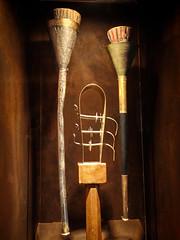Trumpet with wooden trumpet inlay, bronze trumpet with stopper and sistrum found in King Tut's tomb 18th dynasty New Kingdom Egypt (mharrsch) Tags: kingtut tutankhamun artifact treasure exhibit tomb egypt 18dynasty newkingdom discoveryofkingtut omsi oregonmuseumofscienceandindustry portland oregon mharrsch