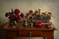 Still-life (Elena Chausova) Tags: stilllife rose book pomegranate candle candlelight свеча гранат натюрморт осень autumn light