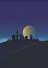 Moonrise... (CatMacBride) Tags: illustration affinity vector hill landscape drawing moon night dark buildings village