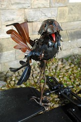 Graculus rook (zawtowers) Tags: hawes north yorkshire upper wensleydale dales england countryside rural market town famous cheese saturday 16th february 2019 dry sunny bright museum statue graculus bird rook michael kusz public art outside shiny