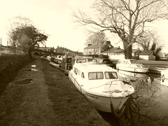 Top Lock Marina, Marple.   (Peak Forest Canal)   February 2019 (dave_attrill) Tags: toplock marina marplejunction barges moored peakforest canal towpath peakdistrict nationalpark cheshire february 2019 cheshirering sepia monochrome tint water waterway
