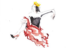 Reine d'un jour - Queen For A Day [20190217]-1 (rodneyvdb) Tags: art contemporary crown dance drawing dress expression expressionism fashion femme illustration ink model queen vogue woman