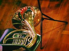 the horn (murozo) Tags: horn musical instrument wood chair ホルン 楽器 木 椅子 譜面台 反射 reflection
