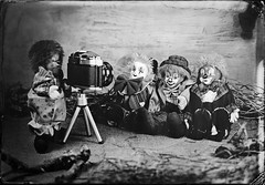 Clown taking pictures of clowns (Nagy Krisztian) Tags: collodion clown glass negative wetplate