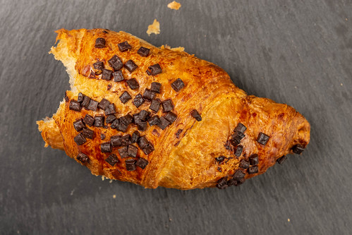 Pastry Croisant with Chocolate Crumbs on the stone tray