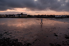 (Popeye) Stroll (Johans tilted tripod) Tags: beach walk sunset donaghadee northernireland unitedkingdom ireland clouds sky warm hue colour color outside water sea