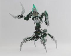 Nidhiki (Ron Folkers) Tags: lego bionicle nidhiki fallen toa green claws silver dark four legs grey moc technic