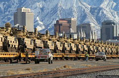 Military Train (jamesbelmont) Tags: unionpacific saltlakecity utah military bradley tanks flatcars shoptruck inspection wasatch mtolympus northyard