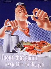 Foods that count: keep him on the job (National Library of Medicine - History of Medicine) Tags: nationallibraryofmedicine imagesfromthehistoryofmedicine ihm historyofmedicinedivision stillimage photomechanicalprint celery fork tomato plate nutritiousfood diet nutritivevalue healthbehavior