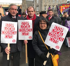 At Stop Council Cuts rally outside Holyrood