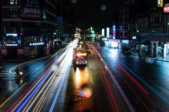 DSC_1814 (Y.S. Lien) Tags: rain rainy rainyday street streetview footbridge night light blue newtaipei taiwan 雨 雨天 陸橋 街景 夜景 新北 台灣