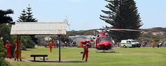 Tie it down (adelaidefire) Tags: horseshoe bay fleurieu peninsula south australia helicopter bell 412er bell412er port elliot country fire service australian cfs sacfs sa state emergency ses coast surf life saving association slsa ambulance saas medstar mac motor accident commission retrieval vhvas