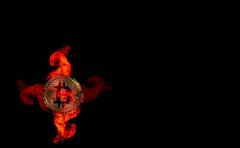 Golden Bitcoin in fire flames on black background (wuestenigel) Tags: market smoke broken cryptocurrency crash background bitcoin bullmarket btc flame coin bear money burn bussiness digital golden finance black mining isolated fire flames burning art kunst noperson keineperson moon mond people menschen one ein dark dunkel action aktion nude nackt flamme light licht abstract abstrakt adult erwachsene woman frau shape gestalten silhouette hot heis man mann astronomy astronomie soccer fusball blur verwischen