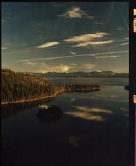 Lake Tahoe on medium format film (Garrett Meyers) Tags: pentax67 120 mediumformat colorfilm filmphotographer film northerncalifornia lake tahoe winter falls potem caleb cinestill50 cinestill vision3 kodak 6x7 clouds reflection cold freezing