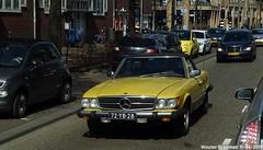 Mercedes R107 450SL 1977 (XBXG) Tags: 72yb28 mercedes r107 450sl 1977 mercedesr107 w107 mercedesw107 mb benz mercedesbenz 450 sl v8 jaune yellow cabriolet cabrio convertible roadster tourer molukkenstraat amsterdam nederland holland netherlands paysbas vintage old german classic car auto automobile voiture ancienne allemande germany deutsch duits deutschland vehicle outdoor