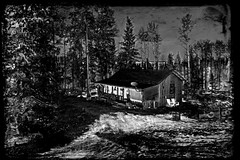 sanctuary@Hippie Hollow (LavenderMillie) Tags: lavendermillie2019 cabin woods alberta sanctuary blackandwhite bw