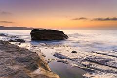 Hazy Soft Light Dawn Seascape (Merrillie) Tags: daybreak sunrise nature dawn paullandareserve landscape centralcoast morning sea newsouthwales rocks pearlbeach nsw waterscape rocky ocean earlymorning water waves coastal clouds outdoors seascape australia coast sky seaside