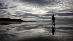 Solitary Figure (tina777) Tags: solitary figure lanscape landscape photography silhouette reflection sea ocean beach seaside britishseaside rest bay restbay porthcawl south wales ononesoftware