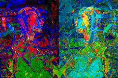 Persephone (Lemon~art) Tags: greek myth persephone seasons manipulation mannequin diptych mirrorimage colour fragments mosaic darkandlight contrast sa wintertospring autumnwinter springsummer change