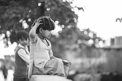 Lookout - Takumar 85mm 1.8 (thomas.pirolt) Tags: india takumar 85mm sony bw braj goverdhan streetphotography street streetlife a7 a7ii people portrait candid moment theindiatree smc 18 bokeh blackandwhite girl young mono monochrome