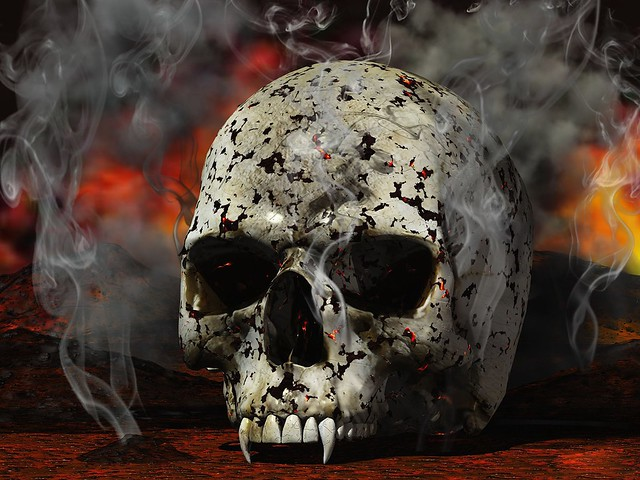 Обои череп, черный, белый, красный, дым картинки на рабочий стол, фото скачать бесплатно