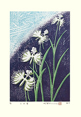 Egret orchid (Japanese Flower and Bird Art) Tags: flower egret orchid habenaria radiata orchidaceae komoro modern woodblock print japan japanese art readercollection