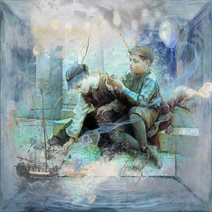 At Play (Water to My Soul) Tags: boys vintage play ship boat water steps old grunge blue children