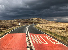 The Calm Before The Storm (Mr_Pudd) Tags: road red slow westnab meltham huddersfield iphone8plusbackdualcamera399mmf18 wessendenheadroad wessenden holmfirth clouds grass fence roadsign