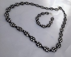 Black and Silver Polka Dot Jewelry Set by SilverSkyByJanet (janetdmorris) Tags: etsy crafts shopping black silver polka dot jewelry set by silverskybyjanet