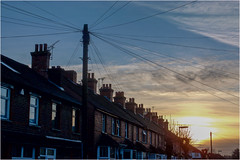 358.3 Skyline (Dominic@Caterham) Tags: skyline houses wires sky clouds sunset winter telegraphpole aerials roof chimneys silhouettes trees
