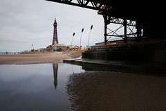 Blackpool Tower from Under Central Pier (nickcoates74) Tags: 1650mm a6300 beach blackpool blackpooltower coast fylde ilce6300 lancashire morning seaside sel1650 sony tower uk affinityphoto