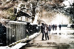 Signs of snowstorm (Shigeo Kameshima) Tags: snowstorm sign snow wind tourist cold oldhouse fence street people couple lover happyplanet asiafavorites
