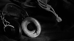Guadalcanal (Rand Luv'n Life) Tags: odc our daily challenge communication wwii american navy pilot headphones guadalcanal aviation history monochrome blackandwhite indoor composition natural lighting military battle wires rope cord