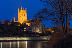 Worcester Cathedral-1380 (alan.dphotos) Tags: worcester cathedral building church religion river severn light dark sky trees shadows reflections