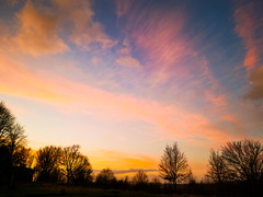 Rainbow Sky (ianclarke82) Tags: colours colourful pinksky sunny clouds pink orange blue trees nature exploring mobilephotography walking huaweip20 sunset mothernature cheshire gorsehall stalybridge greatermanchester england