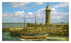 Drifting Steadily With The Tide (OATH Photography by Alison Richards) Tags: boat water sea riveresk pier sky clouds blue bricks stone waves northyorkshire englandunitedkingdom