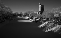 Late Winter Afternoon along Frozen Erie Canal (infrared) (dr_marvel) Tags: ir infrared houston tx texas waterway water frozen canal winter shadows eriecanal rochester ny newyork pittsford port