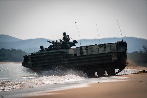 U.S. Marines conduct an assault amphibious vehicle splash during exercise Cobra Gold