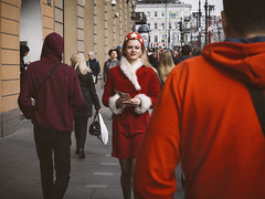 Girl in red (Vitor Pina) Tags: urban people contrast moments faces girl rua streetphotography