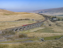 66065 on Dandry Mire Viaduct (robmcrorie) Tags: dandry mire viaduct moorcock garsdale head hates junction line branch midland railway settle carlisle 66065 newbiggin tees dock gypsum empties 6e97 phantom 4 1z10