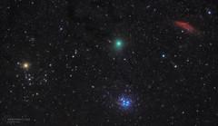 46P, California Nebula and Plejades (spacemovie) Tags: comet stars aldebaran plejades californianebula wirtanen night longexposure space astrophotography voltmer