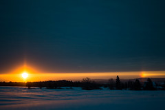 Sunrise Sundog (cowgirljo78) Tags: sundog sunrise colors colorful beautiful sunshine sunny clouds cloudy dark dawn rainbow wisconsin snow february nikon morning