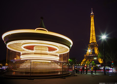 my circle of time... (Anand Balaji) Tags: paris carousel merry go round amusement park eiffel tower night long exposure europe cityscape travel