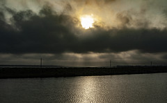 (jfre81) Tags: sunset reflection clouds landscape skyscape sun light water pond surface texas city tx tex 409 levee skyline drive galveston county bay james fremont photography jfre81 canon rebel xs eos