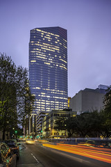 609 Main at Texas - Light Trails Down Fannin 2 (Mabry Campbell) Tags: 5 609mainattexas harriscounty hines houston pickardchilton texas usa architecture building cartrails downtown dusk image lighttrails motion movement photo photograph f71 mabrycampbell march 2019 march72019 20190307houstoncampbellh6a4342 24mm 13sec 100 tse24mmf35lii