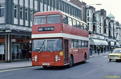 JJG 14P National Bus Company NBC East Kent 7014 Leyland Atlantean with Eastern Coachworks ECW body in Folkestone April78 (Copy) (focus- transport) Tags: buses coaches national bus company nbc east midlands western welsh united wessex trent red white yorkshire devon general bristol kent wilts dorset london counties lincolshire road car alder valley crosville southdown west northern leyland leopard olympian tiger cub atlantean willowbrook eastern coachworks ecw plaxton park royal alexander roe mcw metrocammell mw ld lodekka vrt ls5g sc4lk rell6g daimler fleetline crg6lx aec renown