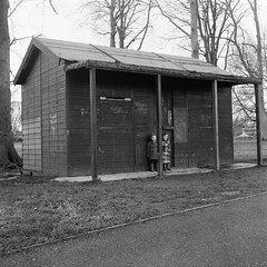 Shed in Basingstoke Park, 1981 (Cross Duck) Tags: ilfordfp4 basingstoke oldbasingstoke oldphotograph blackandwhite monochrome mediumformat ilfordfilm yashicamat